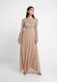Maya Deluxe - ROUND NECK DELICATE SEQUIN BELL SLEEVE MAXI DRESS WITH SKI - Iltapuku - taupe blush - 2