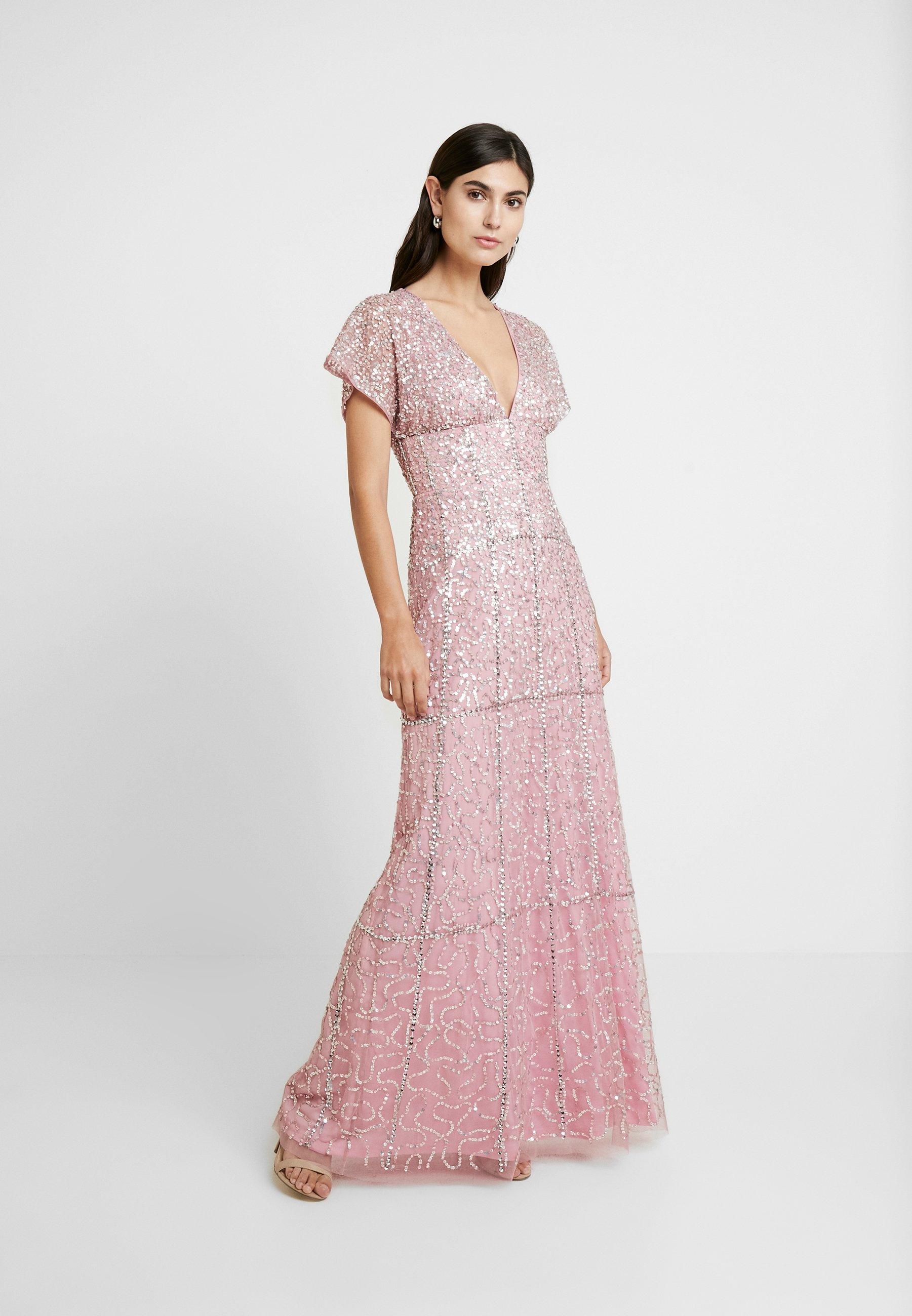 Maya Deluxe EMBELLISHED V NECK MAXI DRESS - Suknia balowa - pink
