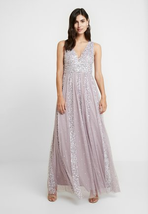 STRIPE EMBELLISHED SLEEVELESS MAXI DRESS - Iltapuku - frosted lilac