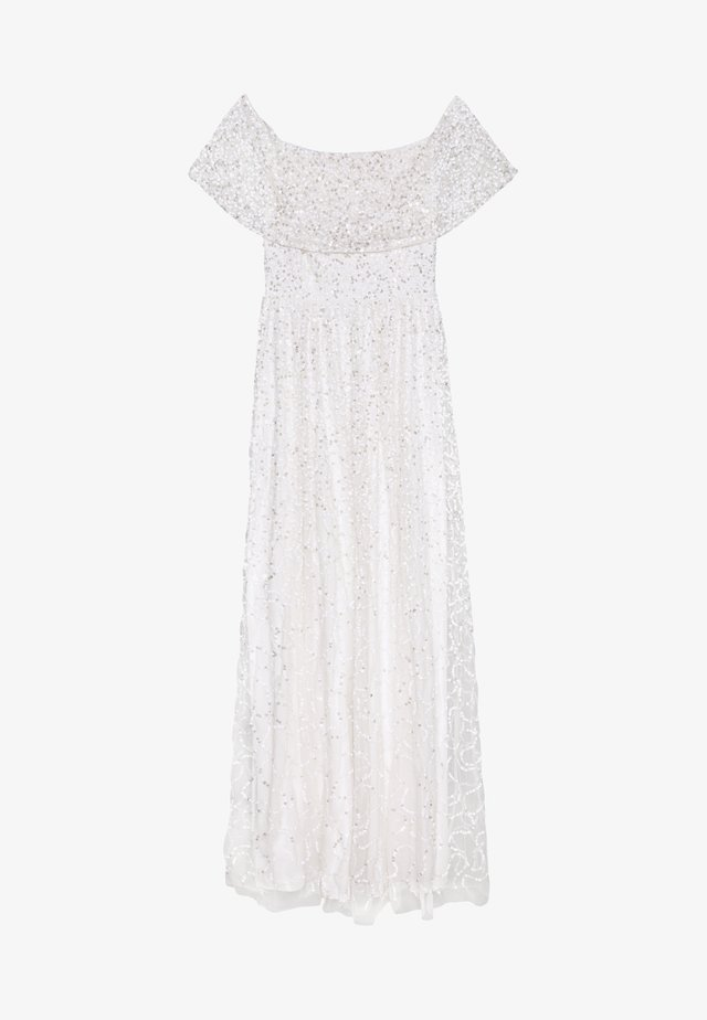 SCATTERED SEQUIN BARDOT MAXI DRESS - Galajurk - white