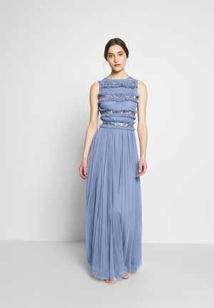 ROUCHED SLEEVELESS MAXI DRESS - Galajurk - dusty blue