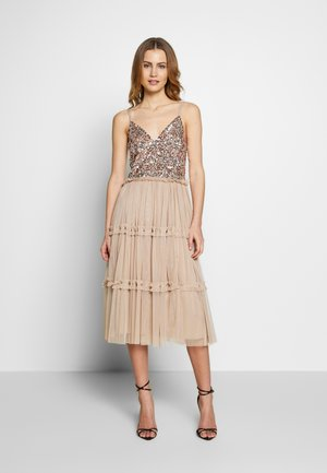STRAPPY SEQUIN MIDI DRESS WITH ROUCH DETAILED SKIRT - Cocktail dress / Party dress - taupe blush