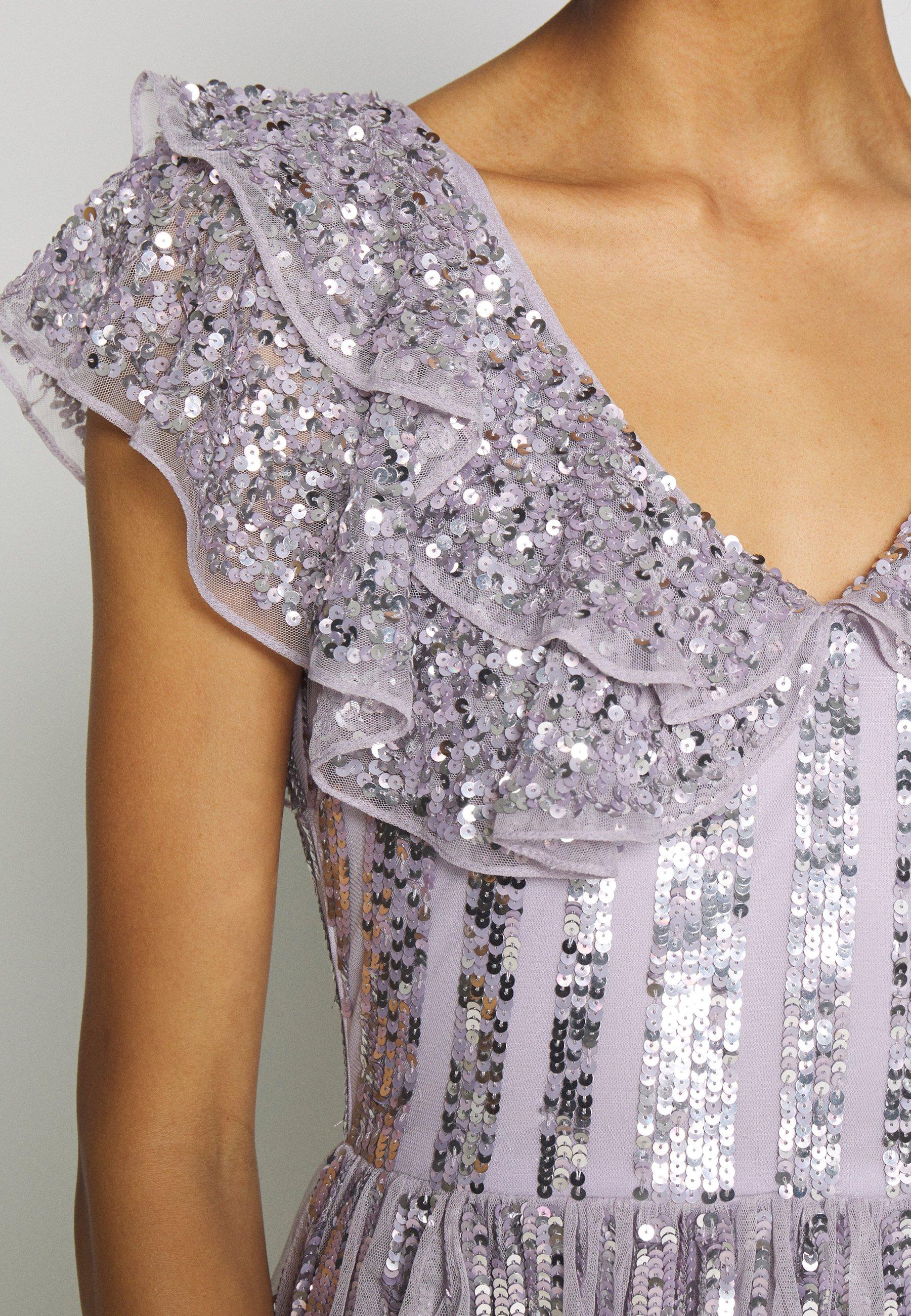 Maya Deluxe Ruffle Sleeve Maxi Dress - Festklänning Soft Lilac