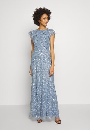 DIP BACK ALL OVER SEQUIN MAXI DRESS - Suknia balowa - dusty blue