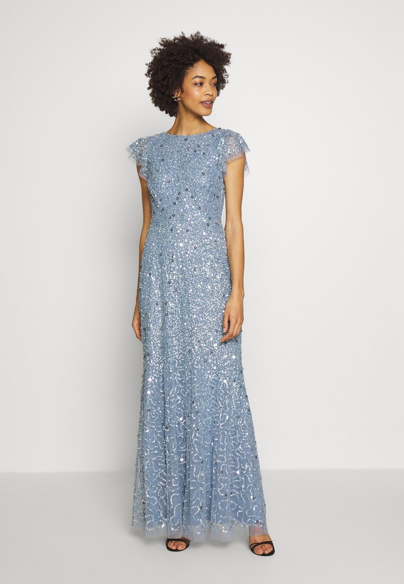 Maya Deluxe - DIP BACK ALL OVER SEQUIN MAXI DRESS - Galajurk - dusty blue