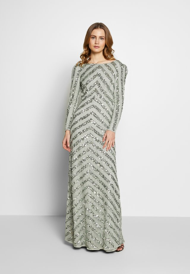 BOAT NECK STRIPE MAXI DRESS - Galajurk - green