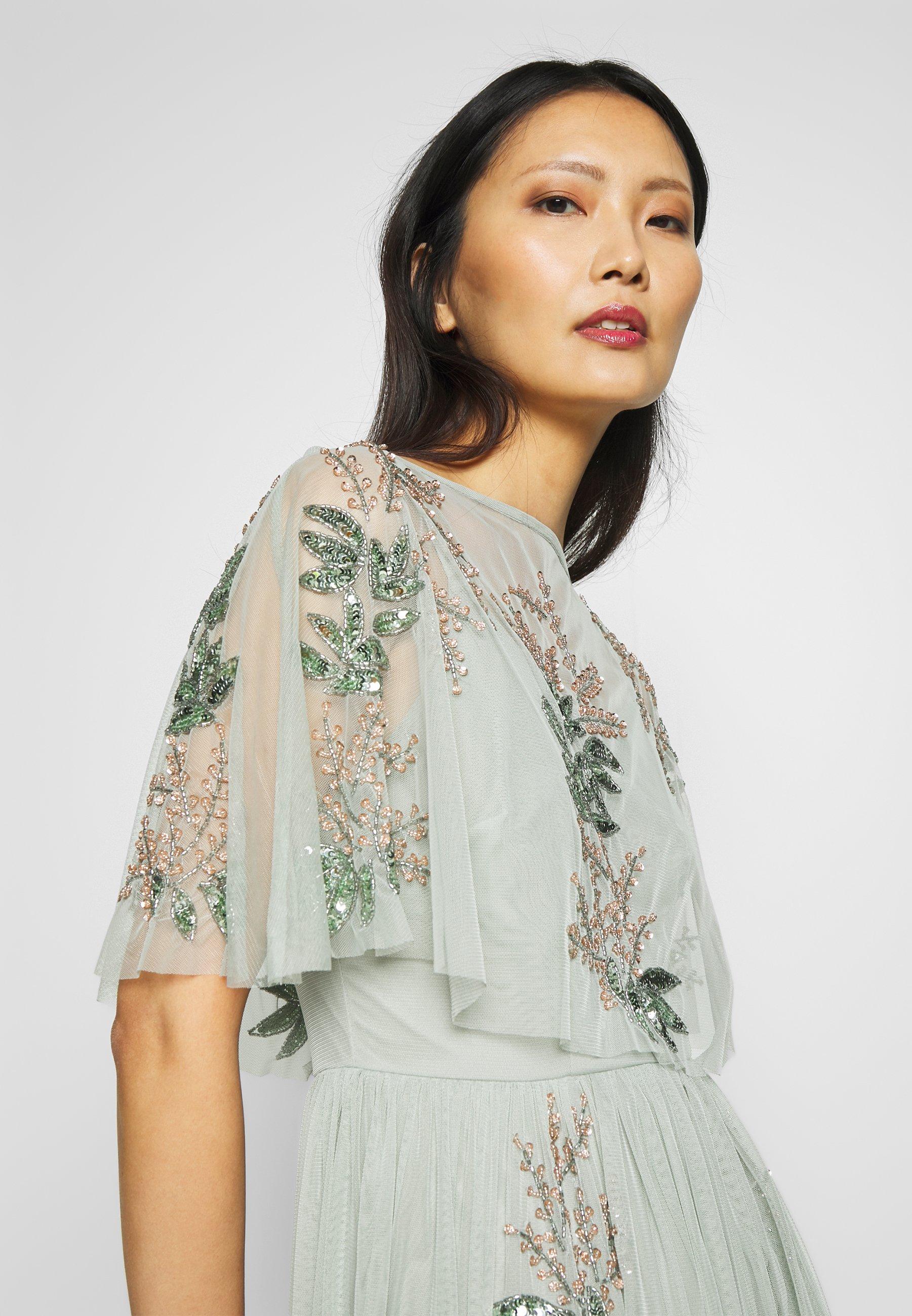 Maya Deluxe OVERLAY CAPE MIDI DRESS WITH PLACEMENT EMBELLISHMENT - Vestito elegante - green