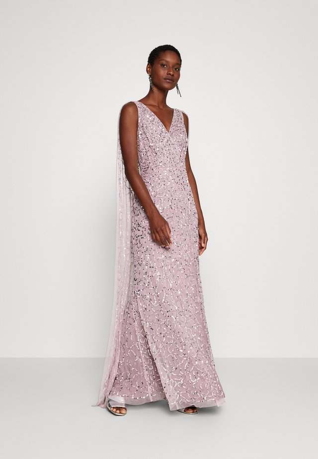 WRAP MAXI DRESS WITH CAPE DETAIL - Suknia balowa - lilac