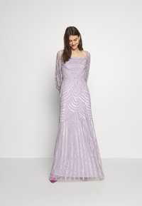 Maya Deluxe - OFF SHOULDER LONG SLEEVE MAXI DRESS WITH EMBELLISHMENT - Galajurk - soft lilac - 2