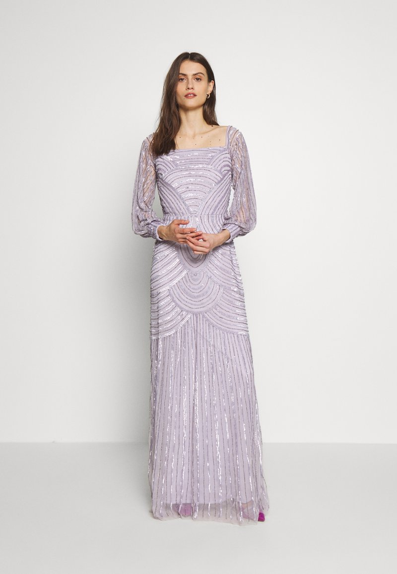 Maya Deluxe - OFF SHOULDER LONG SLEEVE MAXI DRESS WITH EMBELLISHMENT - Galajurk - soft lilac