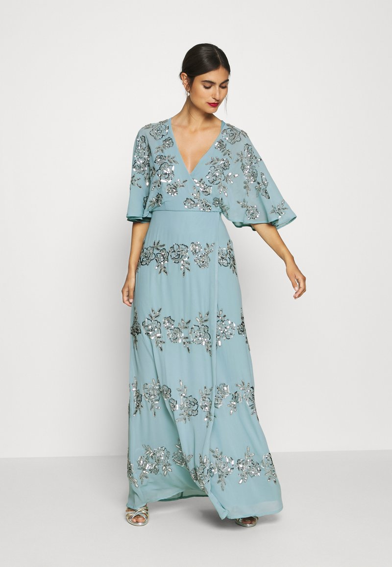 Maya Deluxe - WRAP FRONT ALL OVER EMBELLISHED CAPE MAXI DRESS - Vestido de fiesta - blue