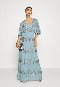 Maya Deluxe - WRAP FRONT ALL OVER EMBELLISHED CAPE MAXI DRESS - Vestido de fiesta - blue - 1