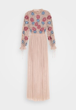 EMBROIDERED FLORAL MAXI DRESS WITH BISHOP SLEEVES - Galajurk - taupe blush