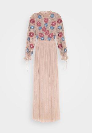 EMBROIDERED FLORAL MAXI DRESS WITH BISHOP SLEEVES - Společenské šaty - taupe blush