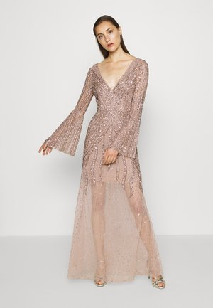 EMBELLISHED V NECK MAXI DRESS - Suknia balowa - taupe blush