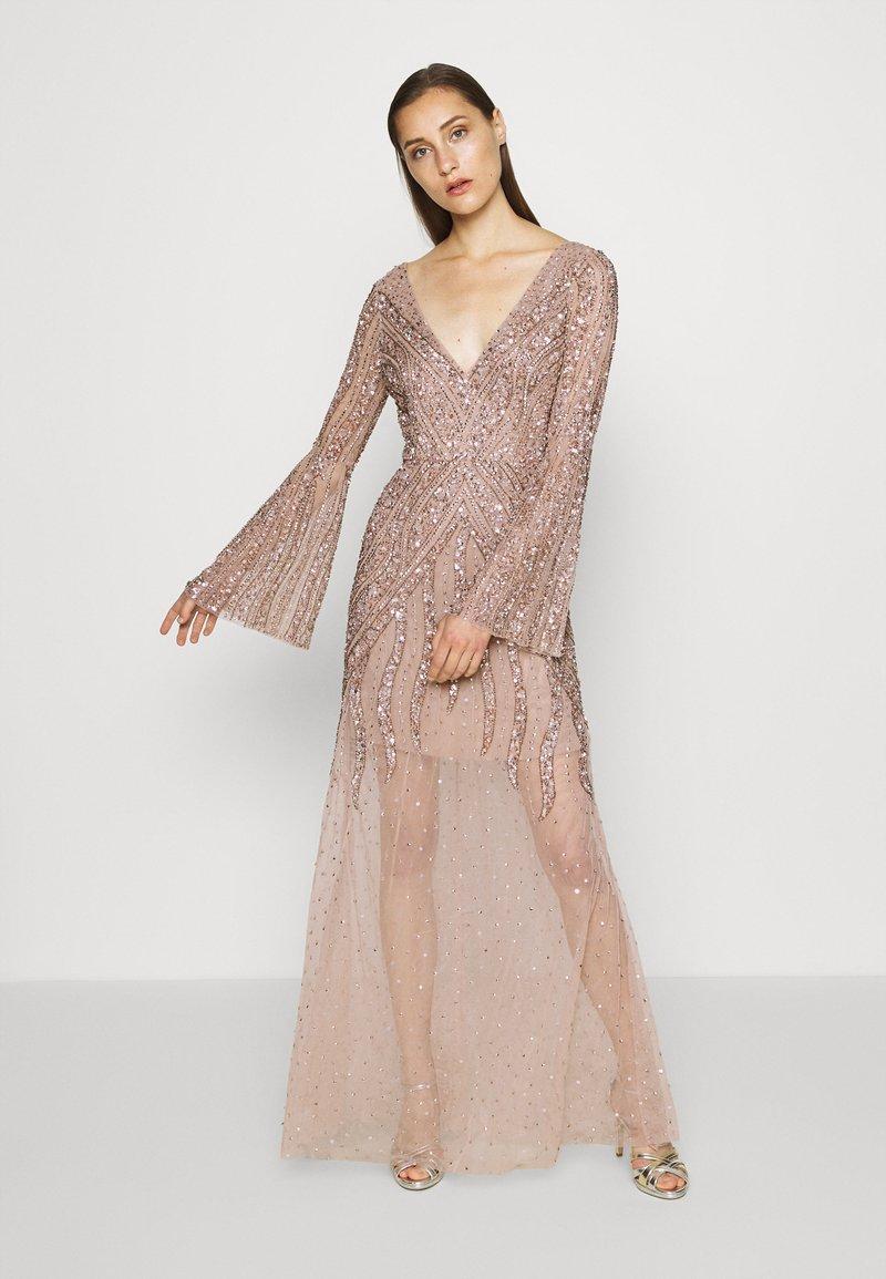 Maya Deluxe - EMBELLISHED V NECK MAXI DRESS - Occasion wear - taupe blush
