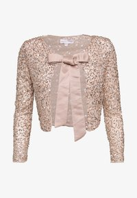 Maya Deluxe - DELICATE SEQUIN JACKET WITH BOW - Strikjakke /Cardigans - taupe blush