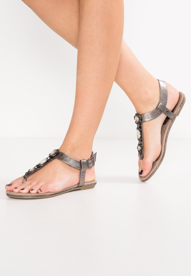Marco Tozzi - T-bar sandals - pewter