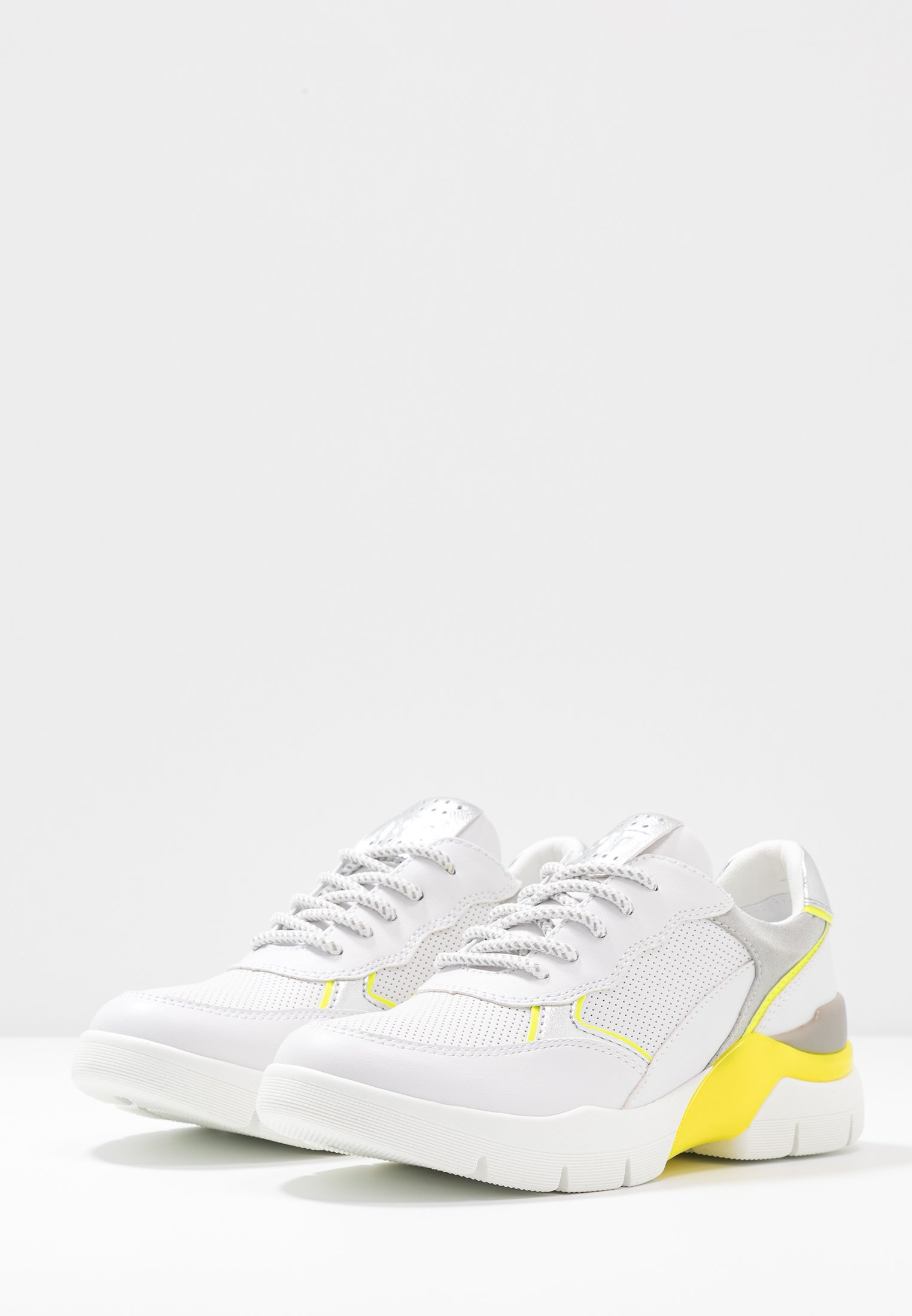 Marco Tozzi Lace Up - Joggesko White/neon Yellow