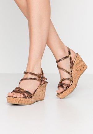 High heeled sandals - saffron