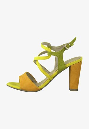 High heeled sandals - yellow comb