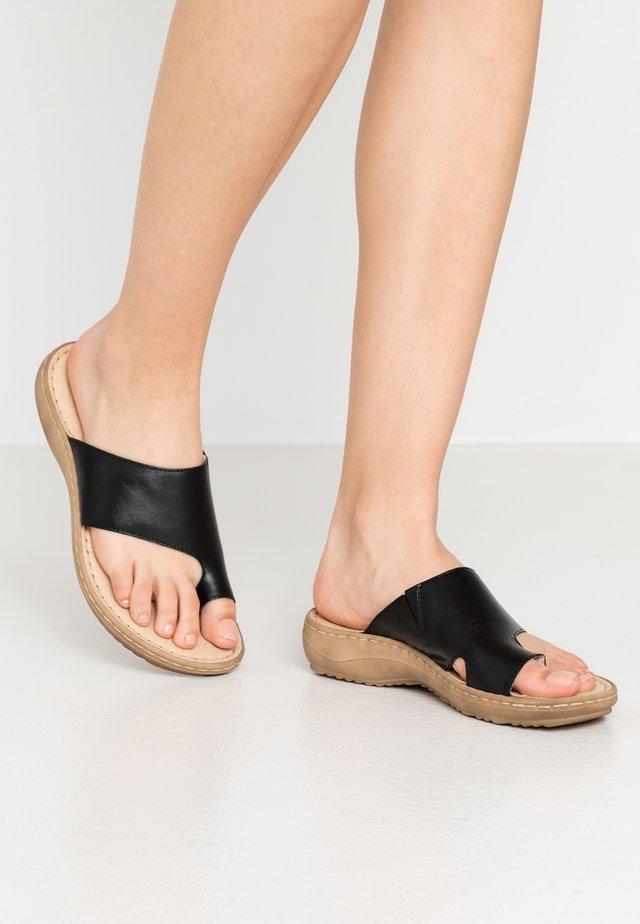 SLIDES - T-bar sandals - black
