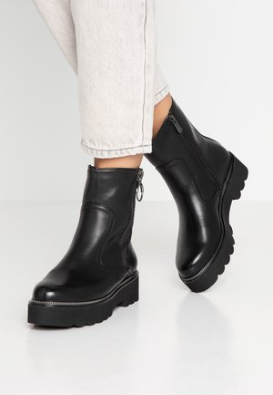 Cowboy/biker ankle boot - black antic