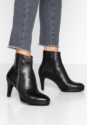 Platform ankle boots - black antic