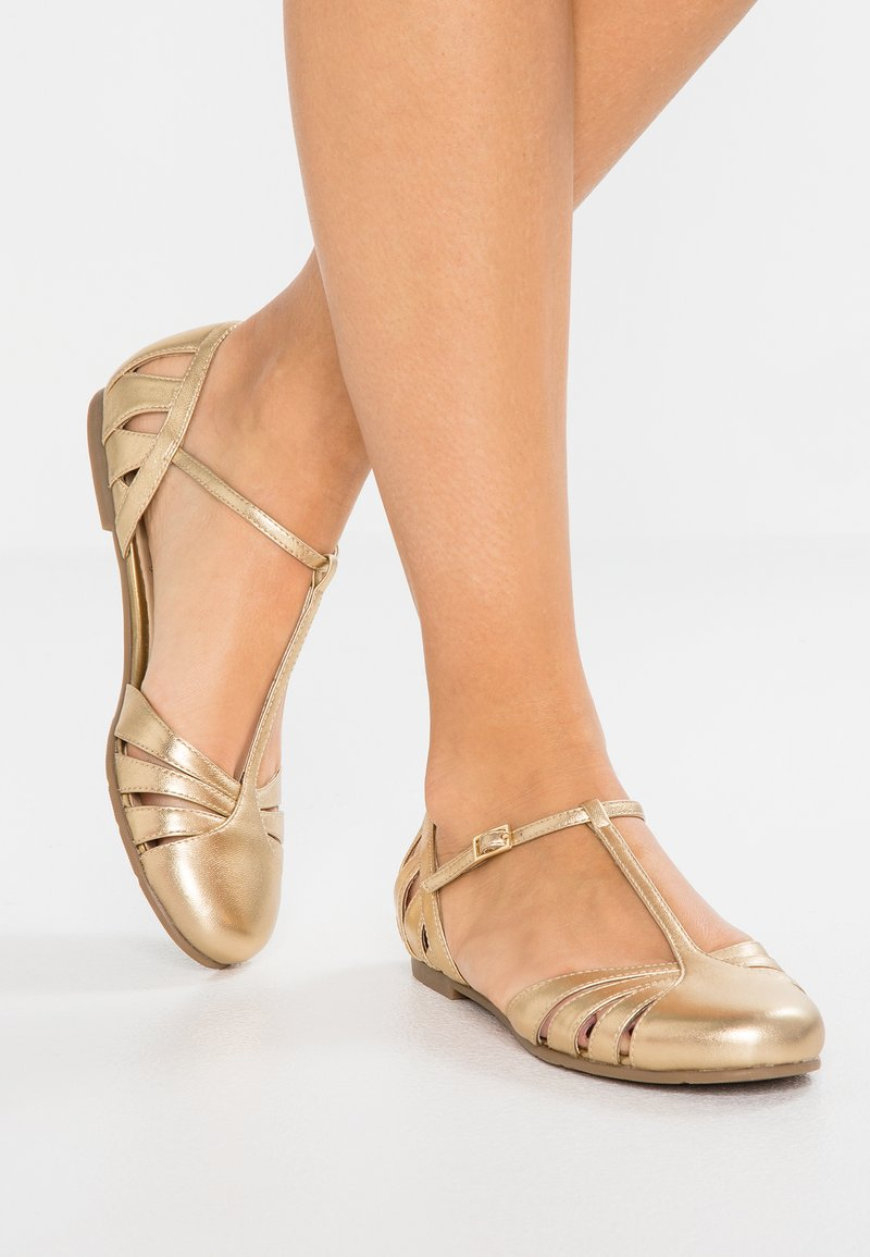 mint&berry - Ankle strap ballet pumps - gold