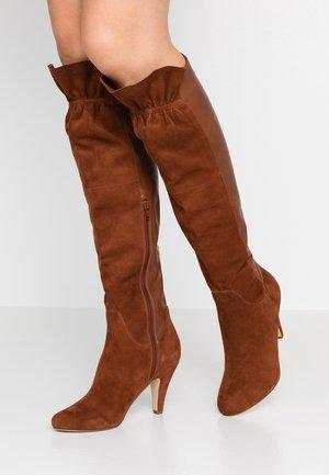 Over-the-knee boots - cognac