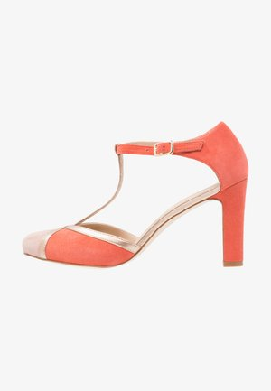 High heels - coral/gold