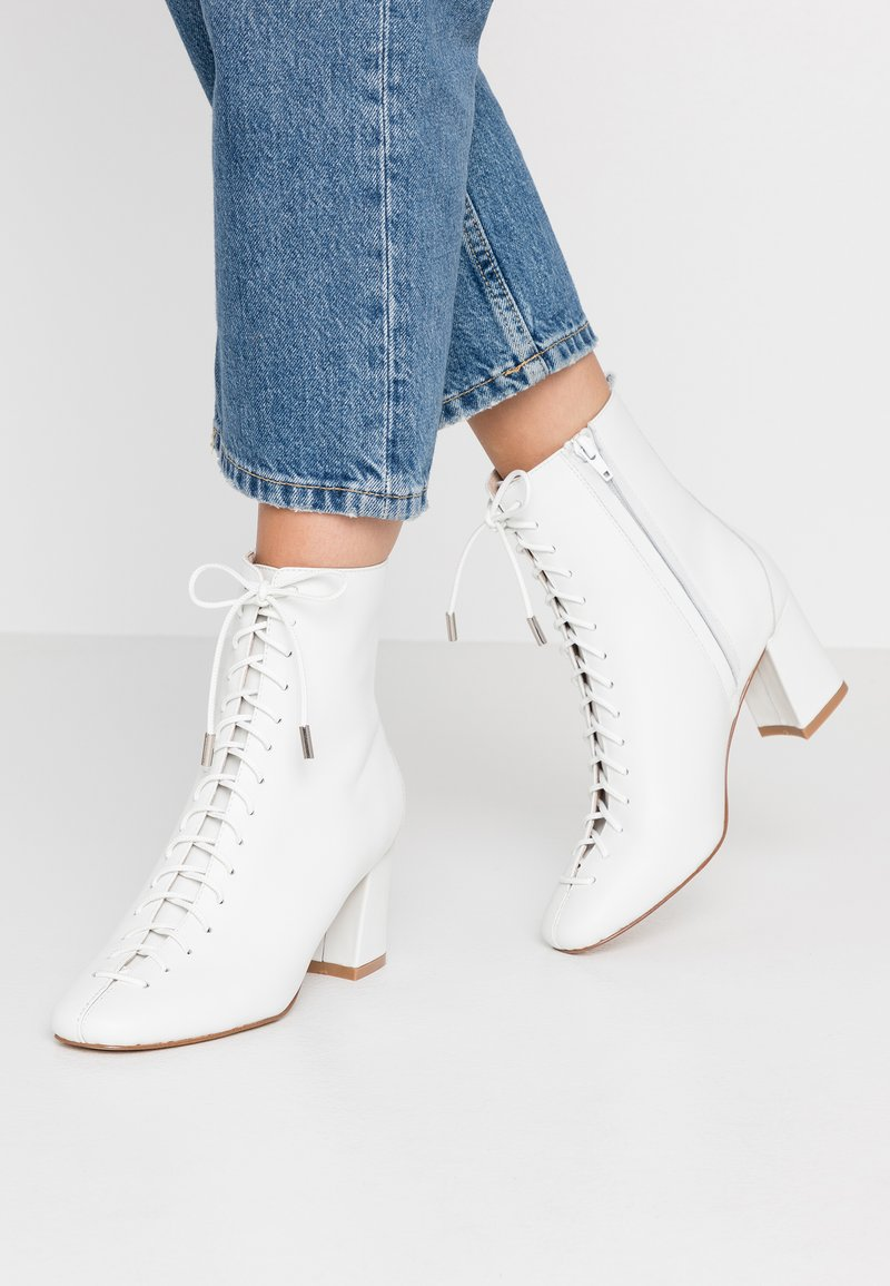 mint&berry - Šněrovací kotníkové boty - white