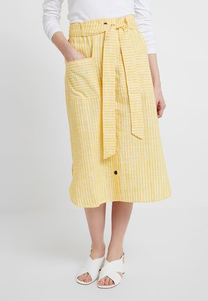 SKIRT WITH BUTTON LEDGE - A-linjainen hame - yellow/white