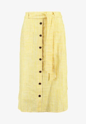 SKIRT WITH BUTTON LEDGE - A-snit nederdel/ A-formede nederdele - yellow/white