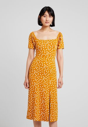 Jersey dress - yellow/white