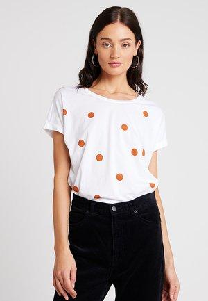 Print T-shirt - light brown/white