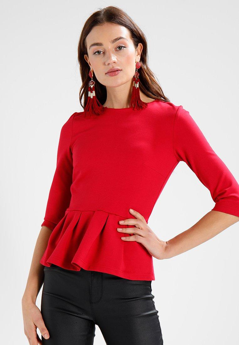 mint&berry - PEPLUM TOP - Long sleeved top - crimson