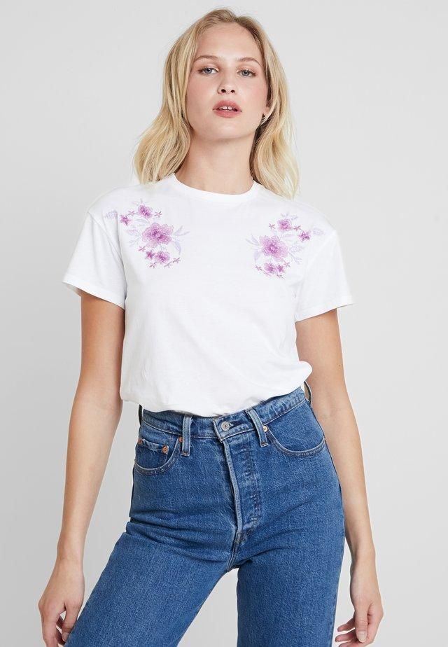 Print T-shirt - white/lilac