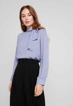 Blouse - blue/white/brown