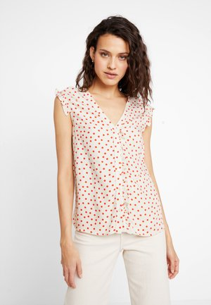 Blouse - beige/red
