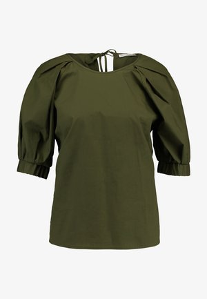 ROUND NECK BLOUSE WITH BALOON SLEEVE - Bluser - olive night