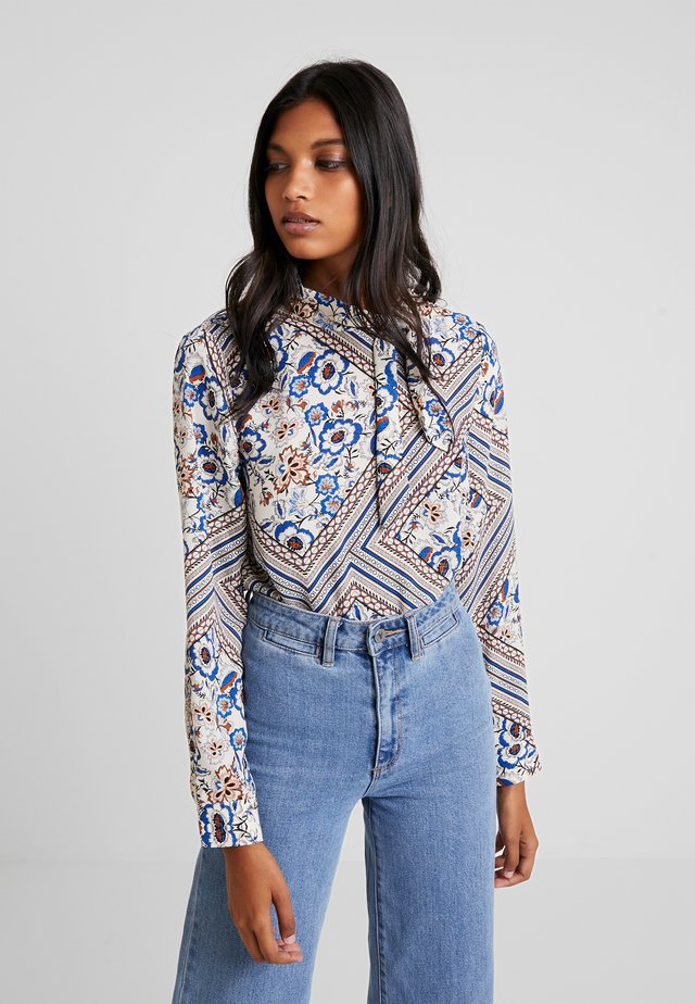Blouse - white/blue/red