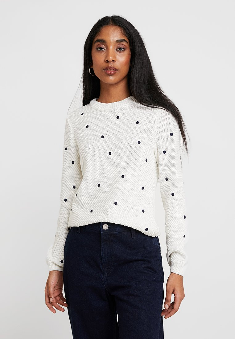 mint&berry - EMBROIDERED DOTS JUMPER - Strickpullover - off-white