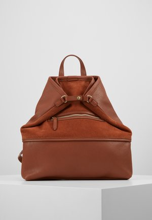 LEATHER - Rucksack - dark cognac