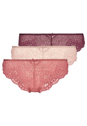 3 PACK - Kalhotky/slipy - bordeaux/salmon/rose