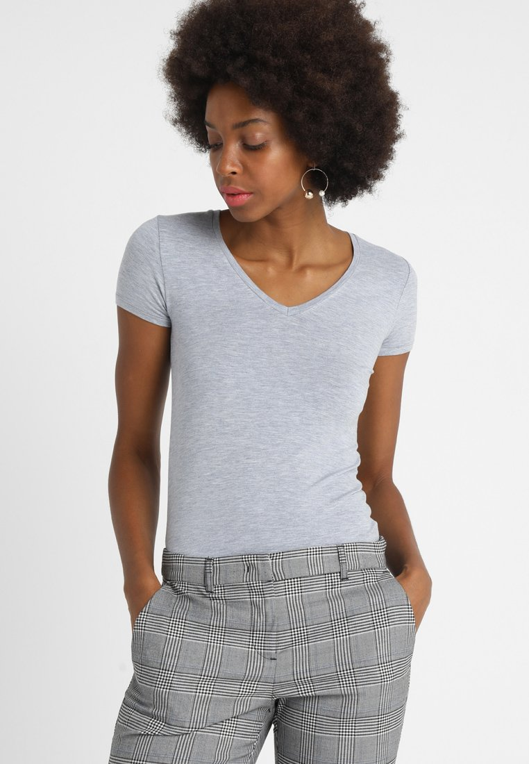 Majestic - MANCHES COURTES BORD - Basic T-shirt - silber