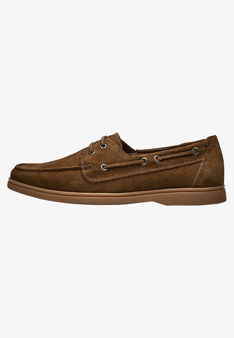 Massimo Dutti - GOLBRAUNER MOKASSIN AUS BORKELEDER 12408550 - Chaussures bateau - beige