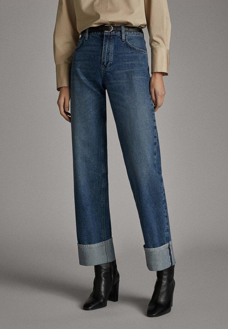 Massimo Dutti - WEITE HOSE MIT GÜRTEL 05039710 - Jeans baggy - dark blue