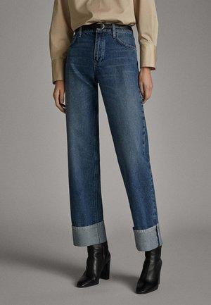 MIT GÜRTEL - Relaxed fit jeans - dark blue