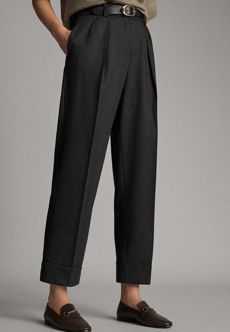 Massimo Dutti - MIT SCHNALLE - Trousers - dark grey